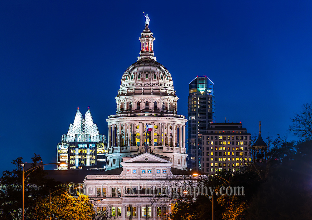 This is photo of the Texas Capitol skyline at night in downtown Austin.  This was captured on the north side of congress facing south.  I like this perspective because you get to see the capital and the city modern architecture with the lights on at night.  The Texas Capitol is a grand site and architecturally stunning building.  This capitol has gone through many renovations over the years but it has been maintained nicely giving the people of this state something to be proud of.  The capitol is a favorite site for tourist to come and enjoy.