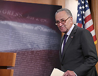United States Senate Minority Leader Chuck Schumer (Democrat of New York) arrives as he and US Senator Ron Wyden (Democrat of Oregon), the ranking member of the US Senate Finance Committee meet reporters in the US Capitol in Washington, DC to denounce the new tax plan announced by US President Donald J. Trump and House and Senate Republicans as tax cuts for the wealthy on Wednesday, September 27, 2017. PhotoCredit: Ron Sachs/CNP/AdMedia