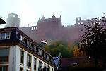 Heidelberg Castle in the fog.