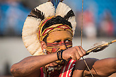 A Pataxo archer takes aim. International Indigenous Games, in the city of Palmas, Tocantins State, Brazil. Photo © Sue Cunningham, pictures@scphotographic.com 29th October 2015