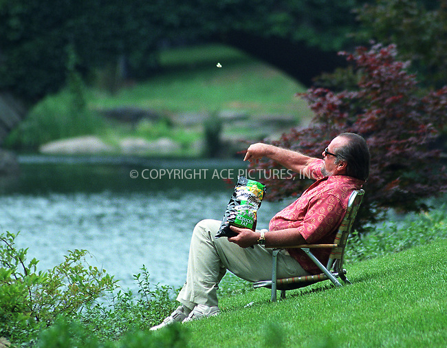"Jack Nicholson amusing himself by feeding imaginary ducks while taking a break on the set of ""Anger Management"" in Central Park, New York, July 1, 2002. Please byline: Alecsey Boldeskul/NY Photo Press.   ..*PAY-PER-USE*      ....NY Photo Press:  ..phone (646) 267-6913;   ..e-mail: info@nyphotopress.com"