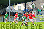 in Action Milltown/Castlemaine's Stephan Roche and East Kerry's Michael Foley and Lee O'Donoghue  at the Senior County Football Championship Milltown/CastleMaine V East Kerry at Killorglin GAA on Sunday