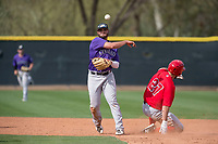 Colorado Rockies second baseman Avery Romero (37) attempts to turn a double play ahead of Nonie Williams (27) during a Minor League Spring Training game against the Los Angeles Angels at Tempe Diablo Stadium Complex on March 18, 2018 in Tempe, Arizona. (Zachary Lucy/Four Seam Images)