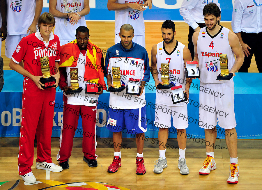 Best 5 players of the Eurobasket 2011 basketball championship: Andrei Kirilenko, Bo Mccalebb, Tony Parker, Juan Carlos Navarro and Pau Gasol in Kaunas, Lithuania, Sunday, September 18, 2011. (photo: Pedja Milosavljevic)