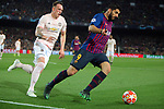 UEFA Champions League 2018/2019.<br /> Quarter-finals 2nd leg.<br /> FC Barcelona vs Manchester United: 3-0.<br /> Phil Jones vs Luis Suarez.