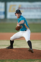 Mooresville Spinners relief pitcher Andrew Dye (27) (Lenoir Rhyne) in action against the Lake Norman Copperheads at Moor Park on July 6, 2020 in Mooresville, NC.  The Spinners defeated the Copperheads 3-2. (Brian Westerholt/Four Seam Images)