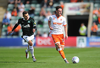 Blackpool's Jordan Thompson under pressure from Plymouth Argyle's Stuart O'Keefe<br /> <br /> Photographer Kevin Barnes/CameraSport<br /> <br /> The EFL Sky Bet League One - Plymouth Argyle v Blackpool - Saturday 15th September 2018 - Home Park - Plymouth<br /> <br /> World Copyright &copy; 2018 CameraSport. All rights reserved. 43 Linden Ave. Countesthorpe. Leicester. England. LE8 5PG - Tel: +44 (0) 116 277 4147 - admin@camerasport.com - www.camerasport.com