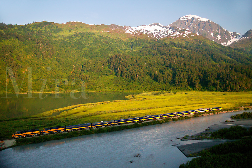 The Alaska Railroad travels through the the Placer River Valley, Chugach National Forest, Alaska...July 13, 2004 Porcaro / Alaska Railroad assignment