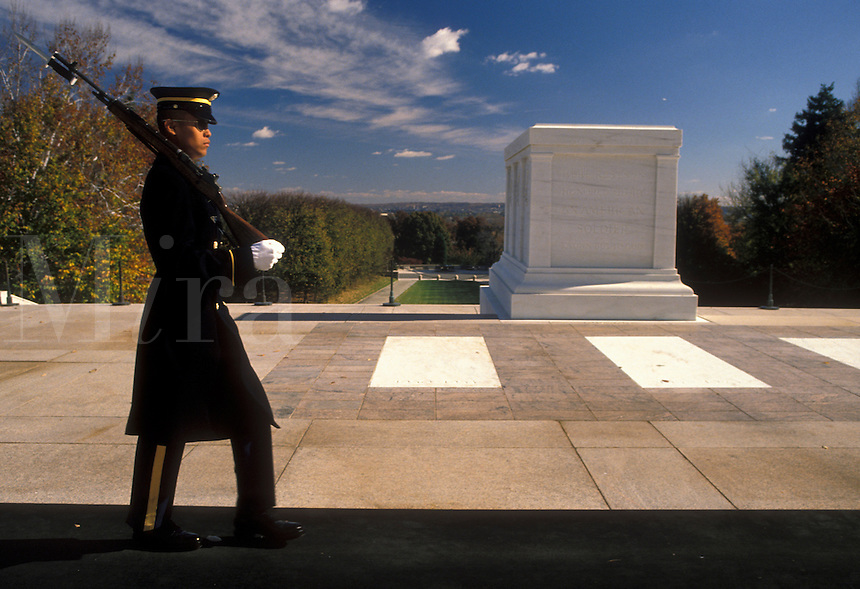 AJ2257, Arlington, Virginia, National Cemetery, Sentry guarding the Tomb of the Unknowns at Arlington National Cemetery.