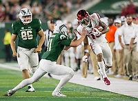 NWA Democrat-Gazette/BEN GOFF @NWABENGOFF<br /> Ryan Stonehouse, Colorado State punter, forces out of bounds Deon Stewart, Arkansas wide receiver, on a punt return for 45 yards in the 3rd quarter Saturday, Sept. 8, 2018, at Canvas Stadium in Fort Collins, Colo.
