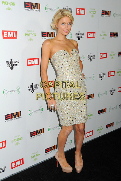 Paris Hilton.EMI Music 2012 Grammy Awards Party held at Capital Records Tower, Hollywood, California, USA..February 12th, 2012.full length dress  beige shoes silver strapless embellished jewel encrusted .CAP/ADM/BP.©Byron Purvis/AdMedia/Capital Pictures.