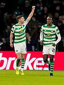 6th February 2019, Celtic Park, Glasgow, Scotland; Ladbrokes Premiership football, Celtic versus Hibernian; Ryan Christie of Celtic celebrates after scoring the opening goal for 1-0 in the 24th minute