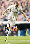 Karim Benzema of Real Madrid in action during their La Liga 2016-17 match between Real Madrid and Malaga CF at the Estadio Santiago Bernabéu on 21 January 2017 in Madrid, Spain. Photo by Diego Gonzalez Souto / Power Sport Images