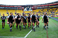 The Kiwis walk back to the changing rooms before the 2017 Rugby League World Cup quarterfinal match between New Zealand Kiwis and Fiji at Wellington Regional Stadium in Wellington, New Zealand on Saturday, 18 November 2017. Photo: Dave Lintott / lintottphoto.co.nz