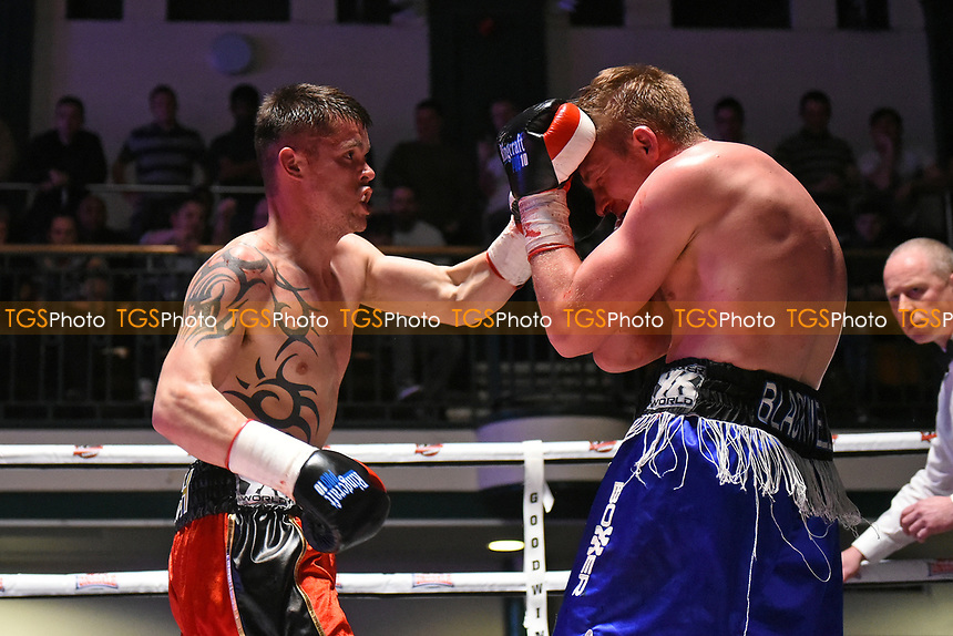 Mitchell Preedy (red/black shorts) defeats Dan Blackwell during a Boxing Show at York Hall on 22nd April 2017