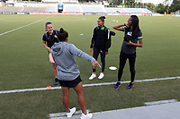 "Cary, North Carolina  - Saturday September 09, 2017: Houston's three Brazilians: Andressa Cavalari Machry ""Andressinha"", Poliana Barbosa Medeiros, and Bruna Benites meet with Carolina's Brazilian Debinha prior to a regular season National Women's Soccer League (NWSL) match between the North Carolina Courage and the Houston Dash at Sahlen's Stadium at WakeMed Soccer Park. The Courage won the game 1-0."