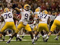 LSU quarterback Jordan Jefferson throws the ball during BCS National Championship game against Alabama at Mercedes-Benz Superdome in New Orleans, Louisiana on January 9th, 2012.   Alabama defeated LSU, 21-0.