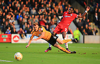 Last ditch tackle on Omar Bogle by MarkRoberts during the Sky Bet League 2 match between Cambridge United and Grimsby Town at the R Costings Abbey Stadium, Cambridge, England on 15 October 2016. Photo by PRiME Media Images.