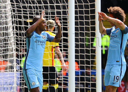 May 21st 2017, Vicarage Road, Watford, Herts, England; EPL Premier league football, Watford versus Manchester City; Fernandinho of Manchester City celebrates his goal to make it 4-0