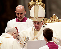 Papa Francesco ordina vescovo Alfred Xuereb durante la celebrazione della solennita' di San Giuseppe e l'Ordinazione Episcopale nella Basilica di San Pietro in Vaticano, 19 marzo 2018.<br /> Pope Francis ordains bishop Alfred Xuereb  as he celebrates a mass during which he conferred the Episcopal Ordination in Saint Peter's Basilica at the Vatican on March 19, 2018. UPDATE IMAGES PRESS/Isabella Bonotto<br /> <br /> STRICTLY ONLY FOR EDITORIAL USE