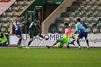Jamal Blackman of Wycombe Wanderers saves from Graham Carey of Plymouth Argyle during the Sky Bet League 2 match between Plymouth Argyle and Wycombe Wanderers at Home Park, Plymouth, England on 26 December 2016. Photo by Mark  Hawkins / PRiME Media Images.