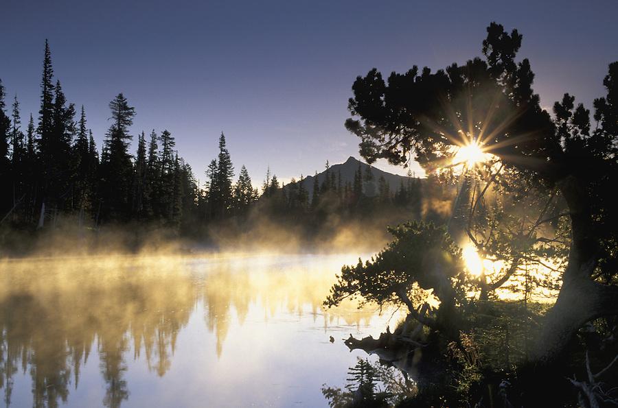 Sunrise over Mystic Lake, Mount Rainier National Park, Washington