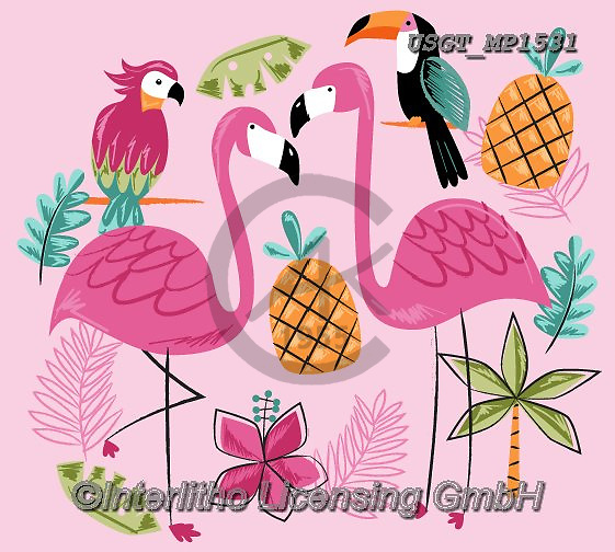 Lamont, GIFT WRAPS, GESCHENKPAPIER, PAPEL DE REGALO, paintings+++++,USGTMP1531,#gp#, EVERYDAY ,notebook,notebooks ,flamingo,flamingos