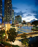 SINGAPORE, Asia, high angle view of Singapore river at night
