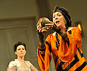 """07/03/2011. """"Blithe Spirit"""", Noel Coward's classic comedy, opens at the Apollo, Shaftesbury Avenue. Hermione Norris (as Ruth Condomine) and Alison Steadman (as Madame Arcati). Picture credit should read: Jane Hobson"""