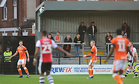 Blackpool fans watch their team in action <br /> <br /> Photographer Kevin Barnes/CameraSport<br /> <br /> Emirates FA Cup First Round - Exeter City v Blackpool - Saturday 10th November 2018 - St James Park - Exeter<br />  <br /> World Copyright &copy; 2018 CameraSport. All rights reserved. 43 Linden Ave. Countesthorpe. Leicester. England. LE8 5PG - Tel: +44 (0) 116 277 4147 - admin@camerasport.com - www.camerasport.com