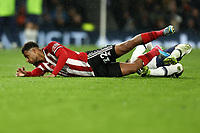 9th November 2019; Tottenham Hotspur Stadium, London, England; English Premier League Football, Tottenham Hotspur versus Sheffield United; Giovani Lo Celso of Tottenham Hotspur tackles Lys Mousset of Sheffield United - Strictly Editorial Use Only. No use with unauthorized audio, video, data, fixture lists, club/league logos or 'live' services. Online in-match use limited to 120 images, no video emulation. No use in betting, games or single club/league/player publications