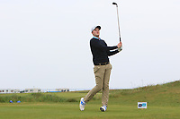 Eugene Smith (The Links Portmarnock) on the 1st tee during Round 1of the Flogas Irish Amateur Open Championship 2019 at the Co.Sligo Golf Club, Rosses Point, Sligo, Ireland. 16/05/19<br /> <br /> Picture: Thos Caffrey / Golffile<br /> <br /> All photos usage must carry mandatory copyright credit (© Golffile | Thos Caffrey)