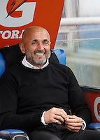 Calcio, Serie A: Lazio vs Roma. Roma, stadio Olimpico, 3 aprile 2016.<br /> Roma's coach Luciano Spalletti smiles prior to the start of the Italian Serie A football match between Lazio and Roma at Rome's Olympic stadium, 3 April 2016.<br /> UPDATE IMAGES PRESS/Isabella Bonotto