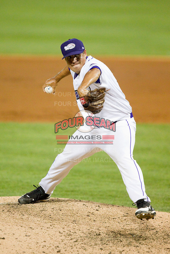 Winston-Salem Dash relief pitcher Jeremy Erben (16) delivers a pitch to the plate against the Potomac Nationals at BB&T Ballpark on July 8, 2013 in Winston-Salem, North Carolina.  The Dash defeated the Nationals 12-9.  (Brian Westerholt/Four Seam Images)