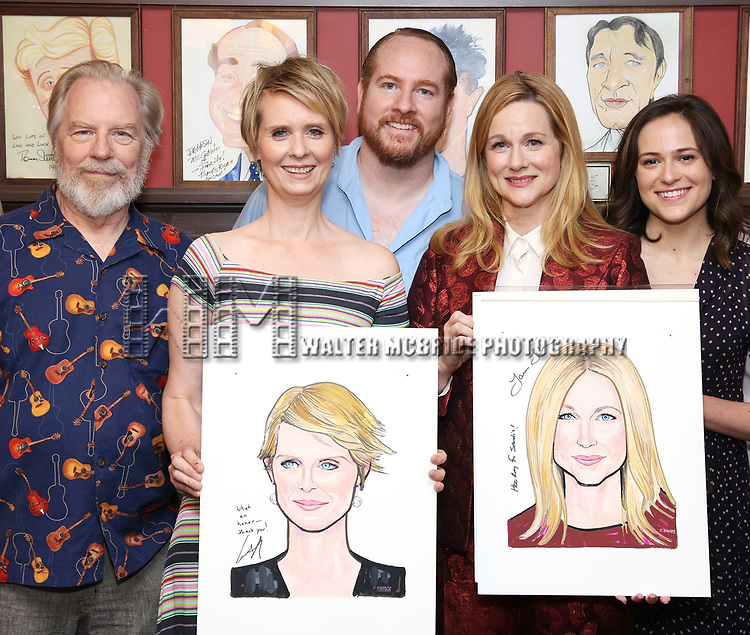 Michael McKean, Cynthia Nixon, Laura Linney, Francesca Carpanini and Michael Benz attend the portrait unveilings of Laura Linney and Cynthia Nixon starring on Broadway in the Manhattan Theatre Club's THE LITTLE FOXES, at Sardi's on June 29, 2017 in New York City.