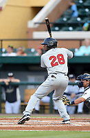 Brevard County Manatees outfielder Victor Roache (28) during a game against the Lakeland Flying Tigers on April 10, 2014 at Joker Marchant Stadium in Lakeland, Florida.  Lakeland defeated Brevard County 6-5.  (Mike Janes/Four Seam Images)