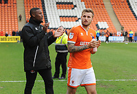 Blackpool's Nick Anderton (right) and Donervon Daniels<br /> <br /> Photographer Kevin Barnes/CameraSport<br /> <br /> The EFL Sky Bet League One - Blackpool v Gillingham - Saturday 4th May 2019 - Bloomfield Road - Blackpool<br /> <br /> World Copyright © 2019 CameraSport. All rights reserved. 43 Linden Ave. Countesthorpe. Leicester. England. LE8 5PG - Tel: +44 (0) 116 277 4147 - admin@camerasport.com - www.camerasport.com