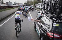 Peter Sagan (SVK/Bora-Hansgrohe) returning his jacket to the teamcar<br /> <br /> 105th Scheldeprijs 2017 (1.HC)<br /> 1 Day Race: Mol &rsaquo; Schoten (BEL/202km)