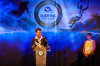 Darling Harbour, Sydney. (20th February, 2013): Minster for Sport Kate Lundy (AUS) presenting Joel Parkinson (AUS) with his award for Male Surfer of the Year. Australian surfing celebrated its champions tonight with Mark Richards and Stephanie Gilmore honoured at the Australian Surfing Awards in Sydney...The Awards marked a significant milestone in Surfing Australia's history as it celebrated its 50th Anniversary following its formation in 1963 as the Australian Surfriders Association and over 500 guests celebrated at the gala event. It was an unprecedented gathering of Australian surfing legends from the past 50 years...Four-times World Champion Mark Richards was named Australia's Most Influential Surfer 1963-2013, while five-times World Champion Stephanie Gilmore was inducted as the 35th member of the Australian Surfing Hall of Fame...The campaign to find Australia's 10 Most Influential Surfers 1963-2013 was conducted through a public vote and through votes provided by the members of the Australian Surfing Hall of Fame...The 10, in order of votes received, was: Mark Richards, Simon Anderson, Nat Young, Michael Peterson, Midget Farrelly, Tom Carroll, Layne Beachley, Wayne Bartholomew, Mark Occhilupo and Bob McTavish...Peter 'Joli' Wilson's photo of the wave Cloudbreak off Fiji during the enormous run of swell in June won the Nikon Surf Photo of the Year and Storm Surfers 3D featuring Ross Clarke-Jones and Tom Carroll was named the Nikon Surf Movie of the Year...2013 AUSTRALIAN SURFING AWARDS WINNERS..Australian Surfing Hall of Fame Inductee: Stephanie Gilmore.Australia's Most Influential Surfer 1963-2013: Mark Richards.Male Surfer of the Year: Joel Parkinson.Female Surfer of the Year: Stephanie Gilmore.Rising Star: Jack Freestone.Waterman of the Year: Jamie Mitchell.ASB Surfing Spirit Award: Misfit Aid.Peter Troy Lifestyle Award: Bob Smith.Surf Culture Award: The Reef - by the Australian Chamber Orchestra and Tura New Music.Simon Anderson Club Award: Kirra Surfride