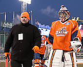 Mike Lane (SSU - Goaltending Coach), Ryan Sutliffe (SSU - 1) - The University of Massachusetts Boston Beacons defeated the Salem State University Vikings 4-2 (EN) on Tuesday, January 7, 2014, at Fenway Park in Boston, Massachusetts.