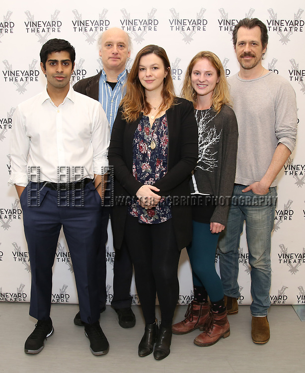 Eshan Bay, Frank Wood, Amber Tamblyn, Ella Dershowitz, and Darren Pettie attend the photo call for The Vineyard Theatre production of 'Can You Forgive Her' at the New 42nd Street Studios on April 3, 2017 in New York City.
