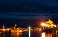 Bass Harbor at night, Bernard, Maine, ME, USA