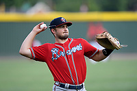 Catcher Shea Langeliers (4), an Atlanta Braves' First-Round pick (9th overall) out of Baylor in the 2019 MLB Draft, now with the Rome Braves, warms up before a game against the Greenville Drive on Thursday, June 27, 2019, at Fluor Field at the West End in Greenville, South Carolina. Rome won, 4-3. (Tom Priddy/Four Seam Images)