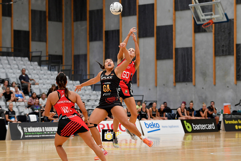 Magic's Abigail Latu-Meafou and Tactix' Jane Watson in action during the Preseason Tournament - Tactix v Magic at Ngā  Purapura, Otaki, New Zealand on Saturday 9 February  2019. <br /> Photo by Masanori Udagawa. <br /> www.photowellington.photoshelter.com