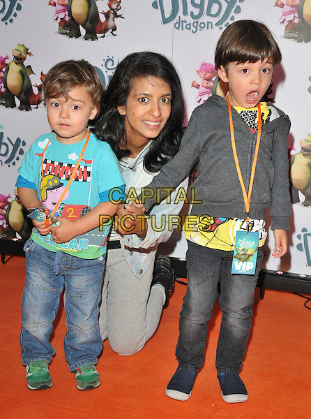 Huxley Brooker Huq, Konnie Huq &amp; Covey Brooker Huq at the &quot;Digby Dragon&quot; world film premiere, The Conservatory, Barbican Centre, Silk Street, London, England, UK, on Saturday 02 July 2016.<br /> CAP/CAN<br /> &copy;CAN/Capital Pictures
