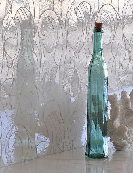 Octopus's Garden, a jewel glass waterjet mosaic, is shown in Moonstone.