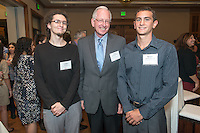 From left, Cullen Parr '14, Dave Berkus '62 P'95 and Steven Van Deventer '15. Occidental College hosts the Scholarship Appreciation Reception, February 13, 2014 in Dumke Commons of Swan Hall.  (Photo by Marc Campos, Occidental College Photographer)
