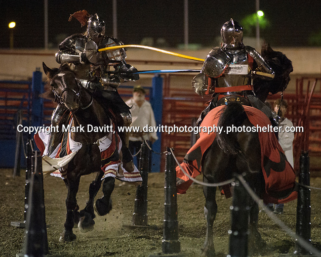 The Warren County Fair grandstand got very medieval July 27 when the nationally-known Knights of Valour performed a jousting tournament for a nearly packed house. The jousts were done as the horse was at a full gallop.