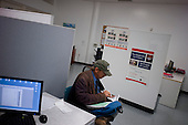 Los Angeles, California<br /> January 31, 2014<br /> <br /> PATH case workers interview 55 yr old homeless Navy veteran David Hauser to see if he is eligible for a HUD Vash housing voucher. <br /> <br /> David has been homeless for three years.