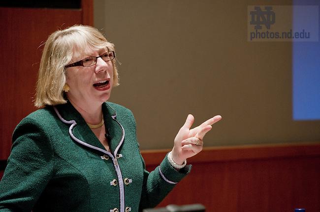 "Jan. 28, 2011; Barbara J. Krumsiek is Chair, CEO and President of Calvert Group, Ltd. speaks in the Jordan Auditorium as part of the ""Ten Years Hence"" lecture series...Photo by Matt Cashore/University of Notre Dame"